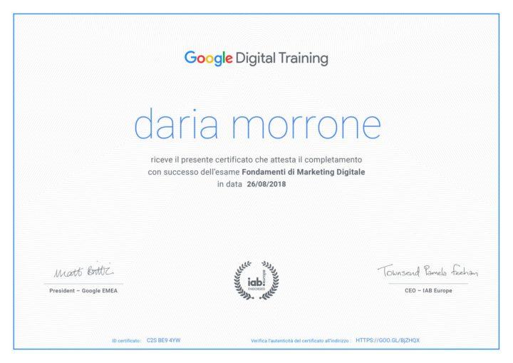 Certificato Google Digital Training